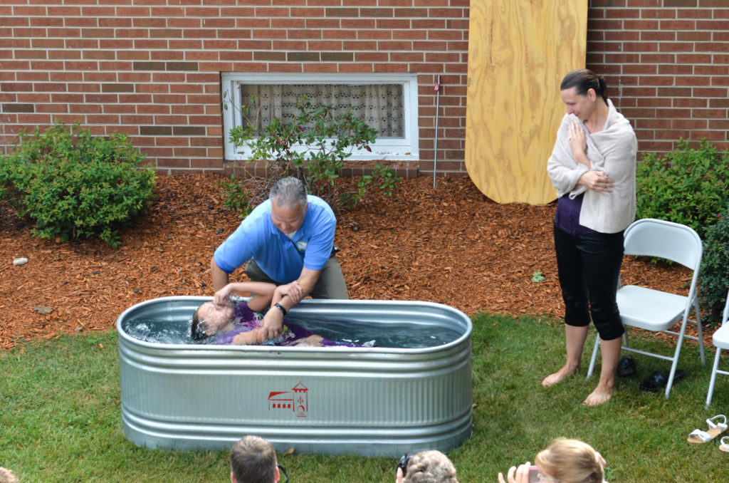 Baptism at the Red Brick Church in Stillman Valley